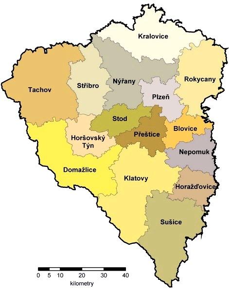 Mapa ORP v Plzeňském kraji